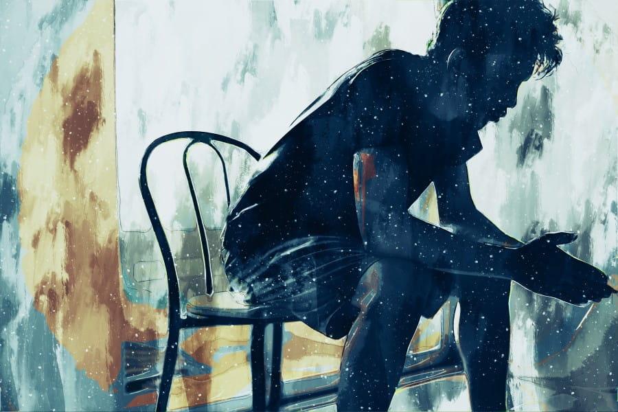 Grafika imitująca malowany ręcznie obraz, przedstawiająca postać mężczyzny siedzącego na krześle.