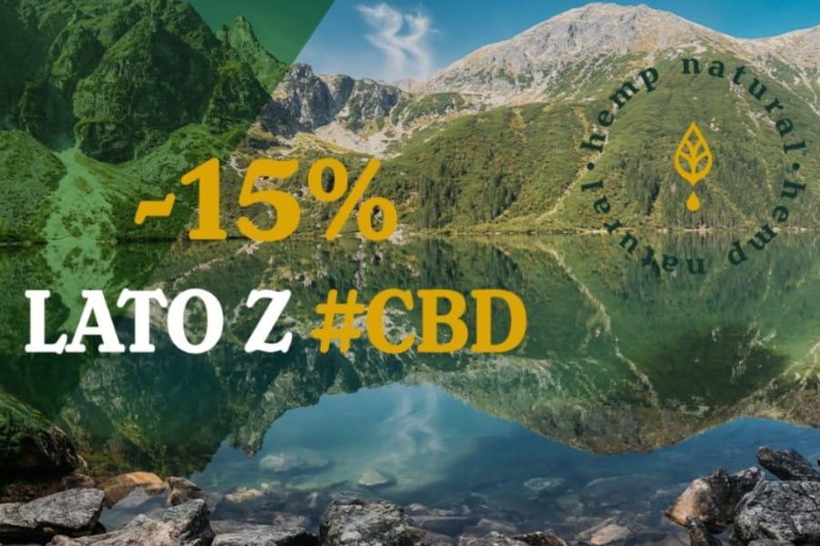 Zdjęcie jeziora i otaczających go gór. Logotyp Hemp Natural i opis promocji na olejki cbd.