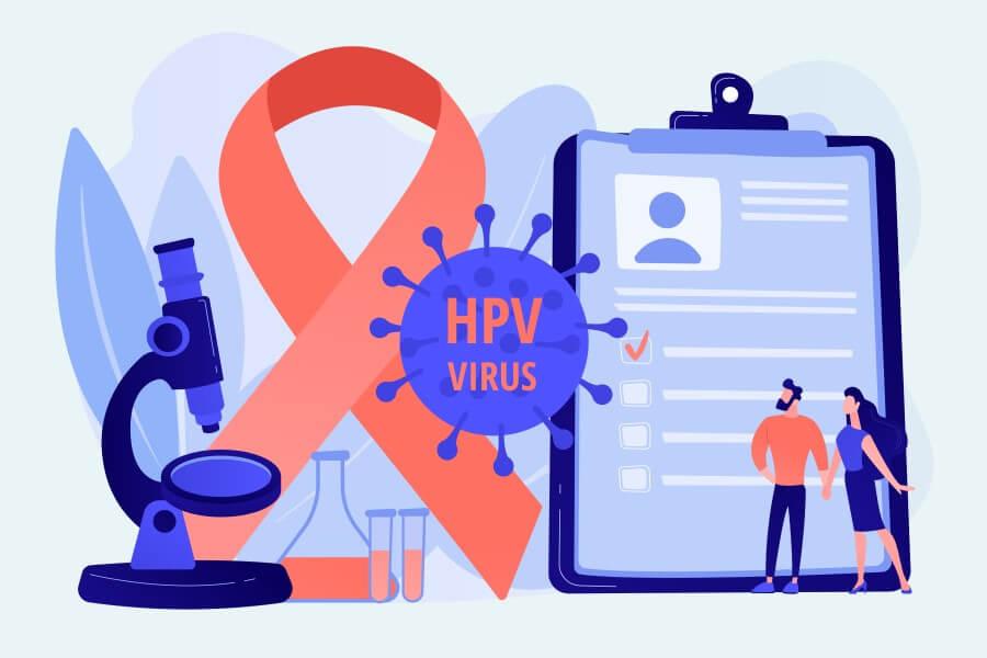 Grafika 2D przedstawiająca rysunkowe postaci zasięgające wiedzy nt. wirusa HPV.
