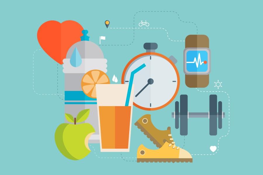 Grafika 3D przedstawiająca elementy zdrowego stylu życia - sport, zdrowa dieta.
